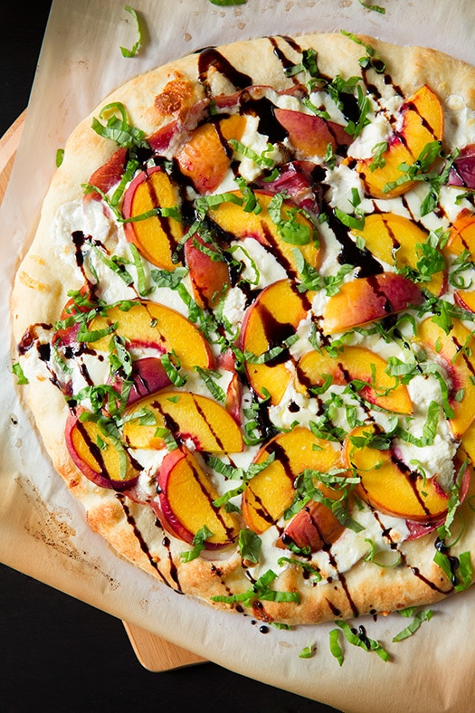 Oven Roasted Peaches with Goat Cheese & Basil
